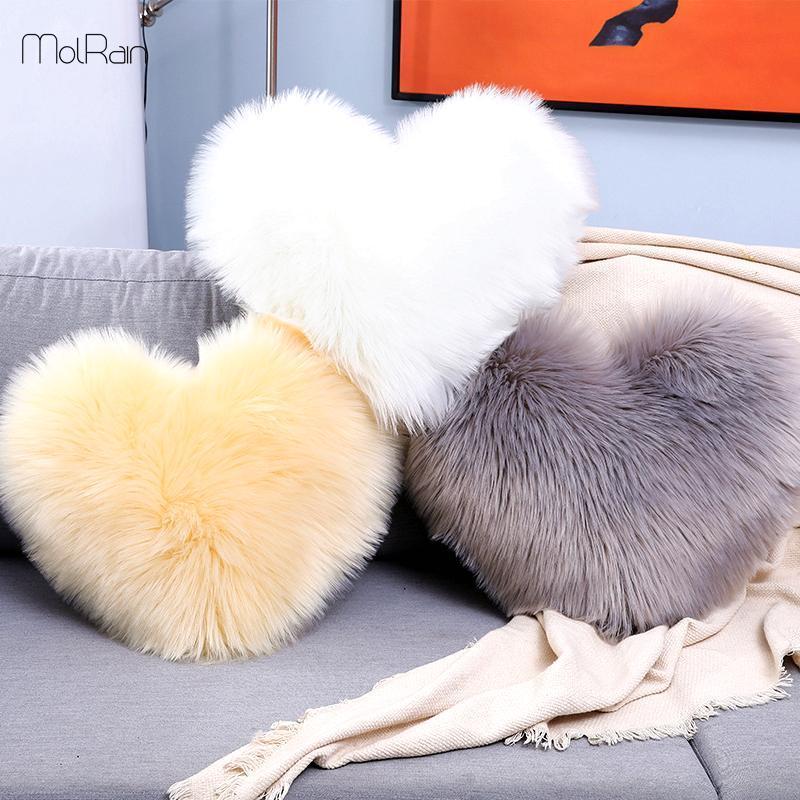 Mullida almohada decorativa en forma de corazón del amor del amortiguador de la cubierta para el sofá cama felpa larga Tire Festival Almohada Funda de almohada 40x50cm regalo