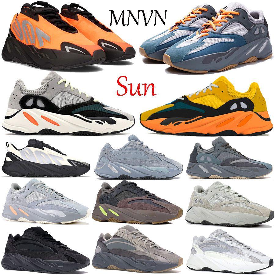 Yeni 700 V1 Güneş Koşu Ayakkabıları Katı Gri Karbon Teal Mavi Turuncu Kemik Grafiti Atalet V2 Yansıtıcı Erkek Kadın Sneakers Eğitmenler