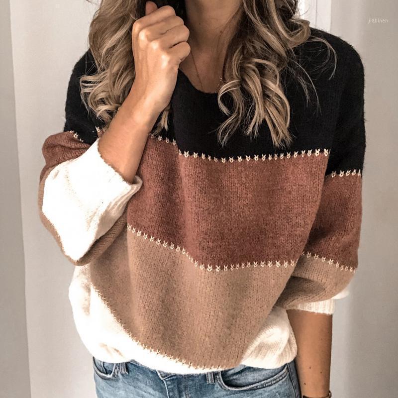 Pulls de couleur Patchwork de mode à rayures Femme automne hiver chaud à manches longues pulls tricotés tops décontractés décontractés percolaires o-cou jumper1