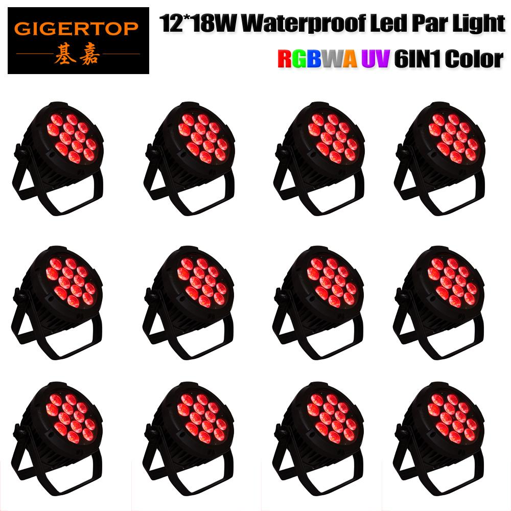 Frete grátis de tiptop 12pcs / lote LED ao ar livre par 12x12W RGBWA UV 6in1 LED iluminação de palco