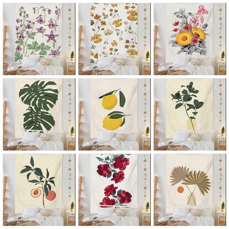 Modern Nordic Bedroom Wall Decor Cute Plant Tapestry Flowers Leaf Tapiz 2021 Noel Deco Floral Hanging Tenture