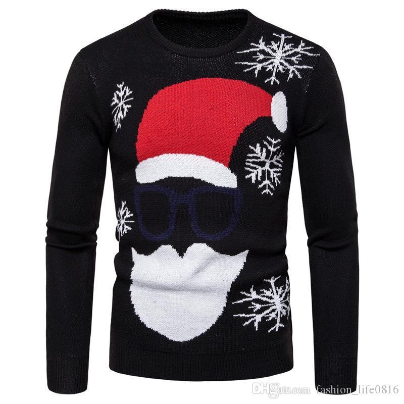 2020 свитер с длинным рукавом мужская мода комфортно весной и осенью роскошный темно-синий красный Рождество шляпа вышивка свитер прыгуна мужчин