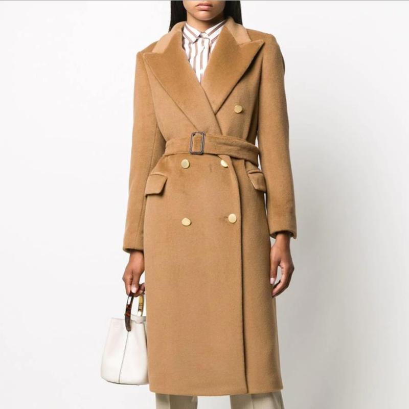 가을 겨울 양모 혼합 여성 더블 브레스트 코트 우아한 오버 코트 긴 오버코트