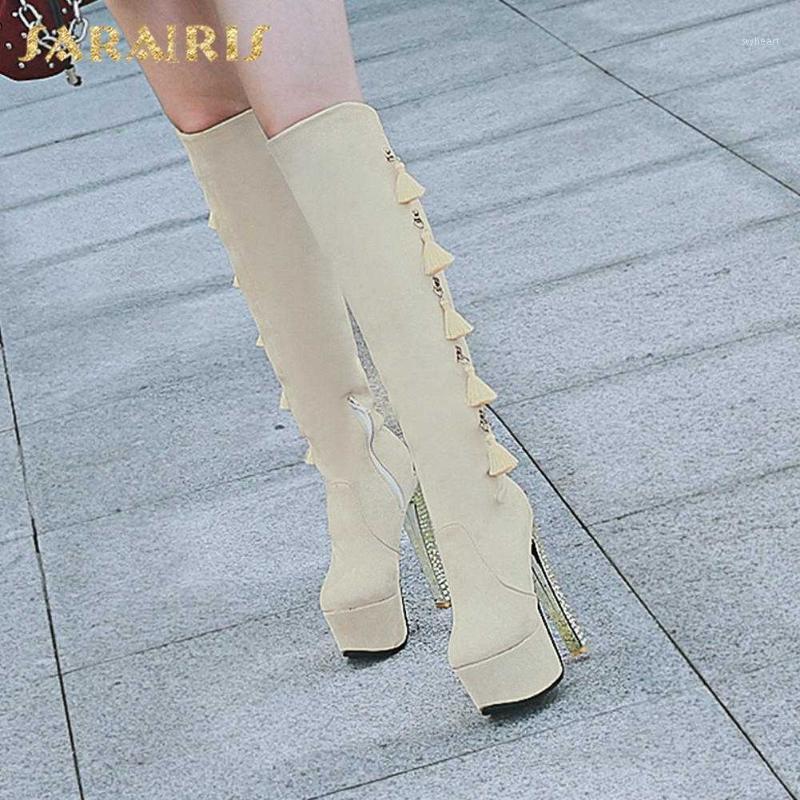 Sarairis 2020 Neue Mode Concis Kniehohe Stiefel Frau Schuhe Plattform Super High Heels Fransen Fashion Frühling Schuhe Damen Zip1
