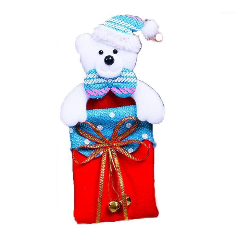 Рождественская елка подвесной подарок сумка висит орнамент с лентой колокол Рождественские дома украшения рождества медведь медведь1