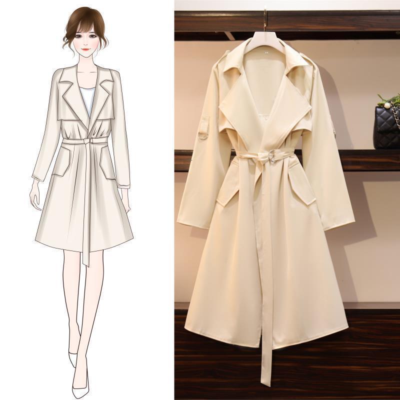 Automne 2020 nouvelle grande Collar du costume des femmes coréennes avec ceinture style long britannique polyvalent de style coupe-vent ol