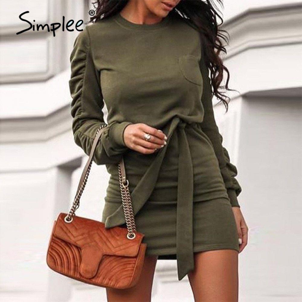 Simplee White Mode Frauen Oansatz Slim High Street Stil Langarm mit Gürtel Herbst Winter Elegante Bürokleid