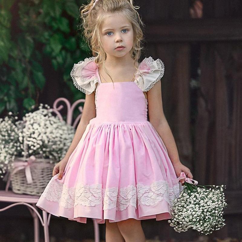Éachin Filles Robes en dentelle brodée Robe imprimée Patchwork Princesse Enfants Robe d'été Vêtements Casual Baby Girls # Sundress VWPZ