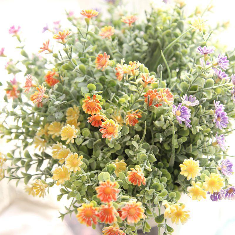 2 PCS 32 cm Simulación artificial Ramo de boda pastoral Decoración del hogar Chrysanthemum Green Hierba Hogar Decoración de la boda Flores