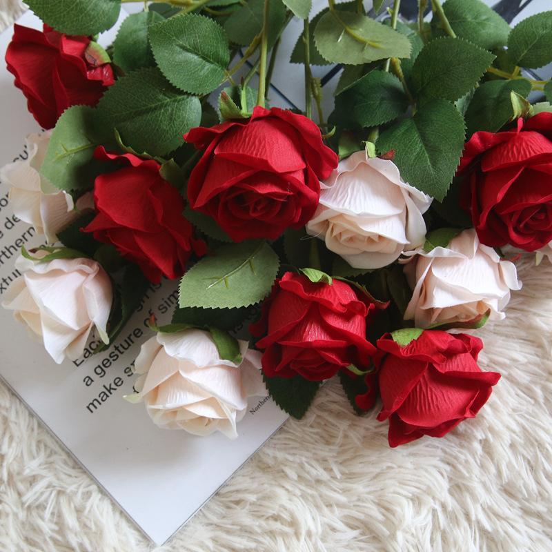 Flores decorativas grinaldas artificial rosa buquê de casamento festa de casamento casa decoração flor de decoração flor seca artificielle