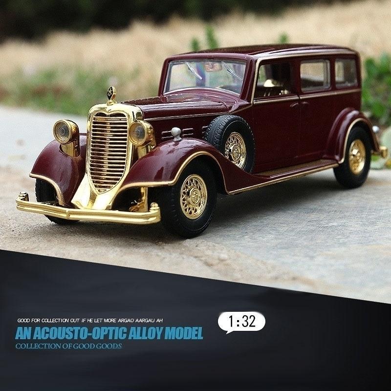 1/32 liga imperador retro clássico veículo de brinquedo de veículos puxar luminoso sound morrer modelo de molde brinquedos y200109