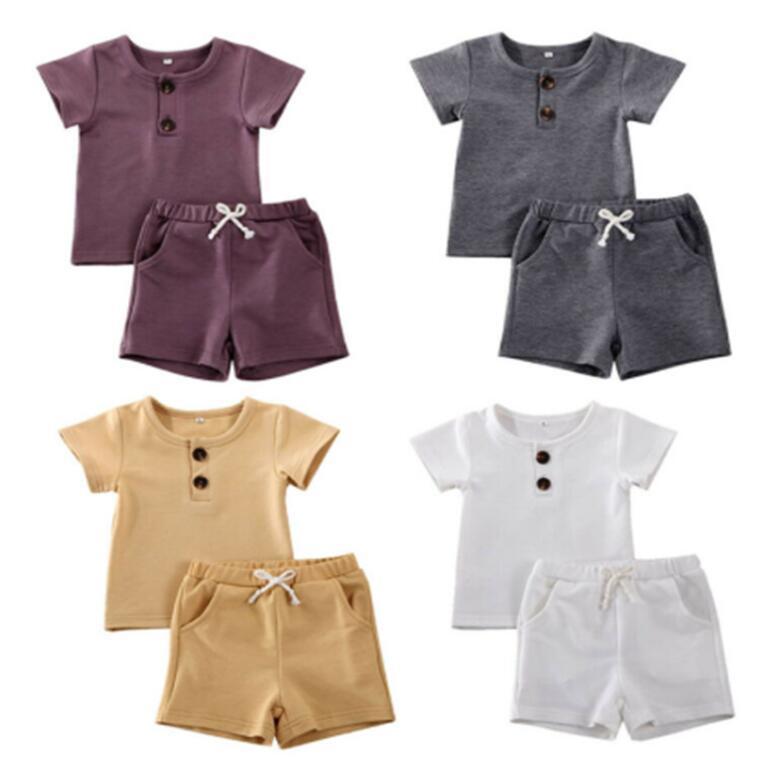 Vêtements nouveau-nés Ensembles de vêtements bébé Garçons Vêtements côtelés Coton Coton Casual Sleeve Tops T-shirt + Shorts Toddler Bufant Fashion Outfit Summer Outfit Set Zyy581