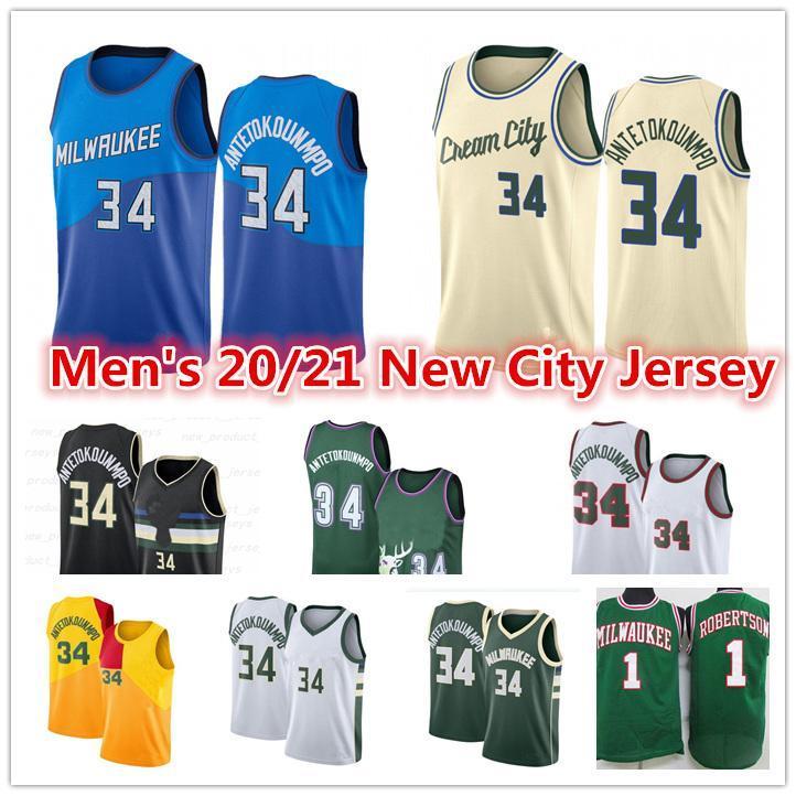 Männer 2021 New Giannis 34 AntetokounMPO Jersey Oscar 1 Robertson Jrue 11 Holiday Ray 34 Allen City Royal Edition Basketball Trikots