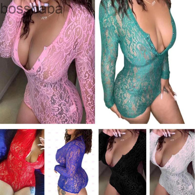 Womens Overalls Sexy Tief V-Ausschnitt Spitze Ausschnitt Langarm Button Enge Jumper Home Anzug Neu 2021 Strampler Pyjama Onesies Nachtwäsche 819