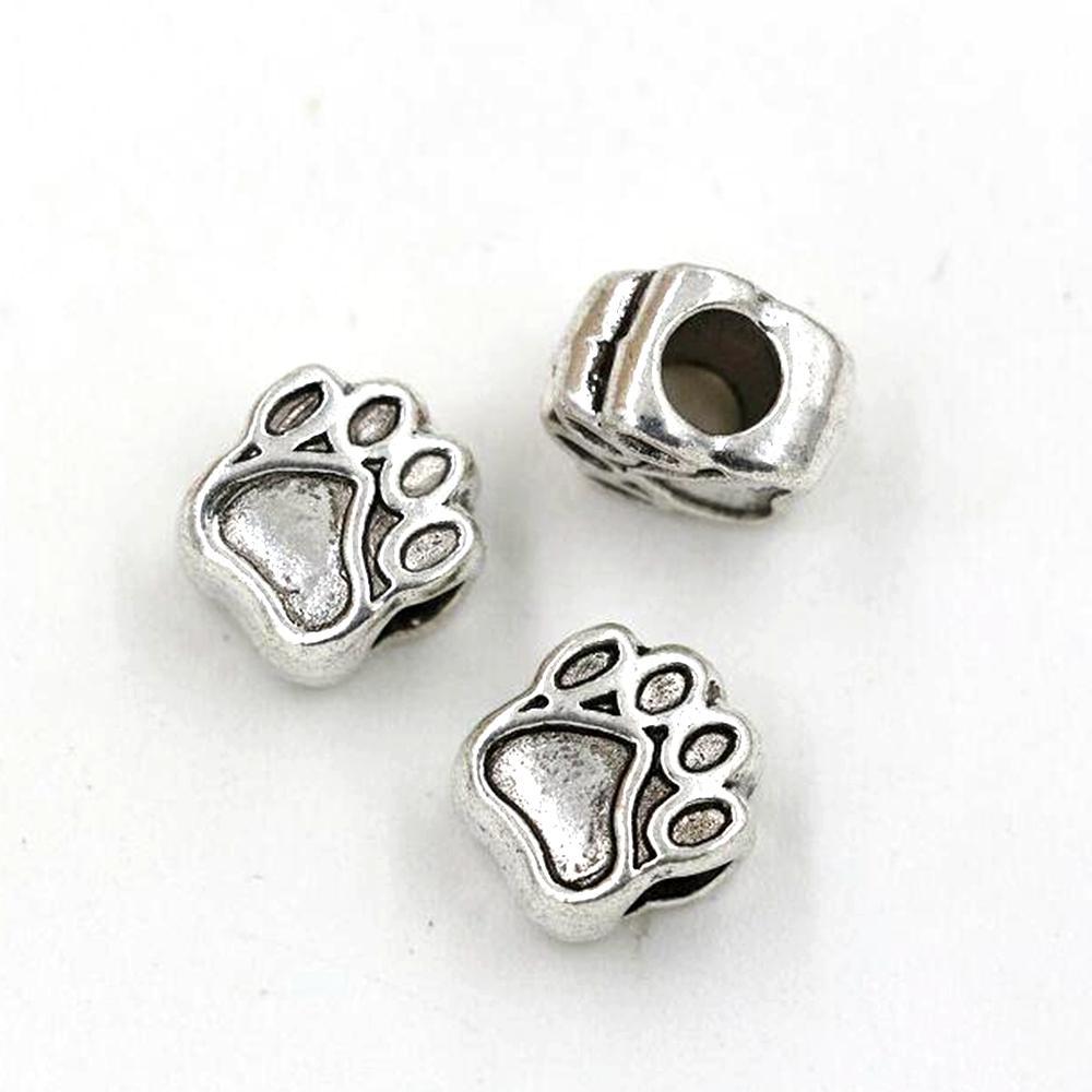 100PC / Massor Antik Silver Zink Alloy Paw Prints Spacers Big Hole Pärlor för smycken gör armband halsband DIY Tillbehör