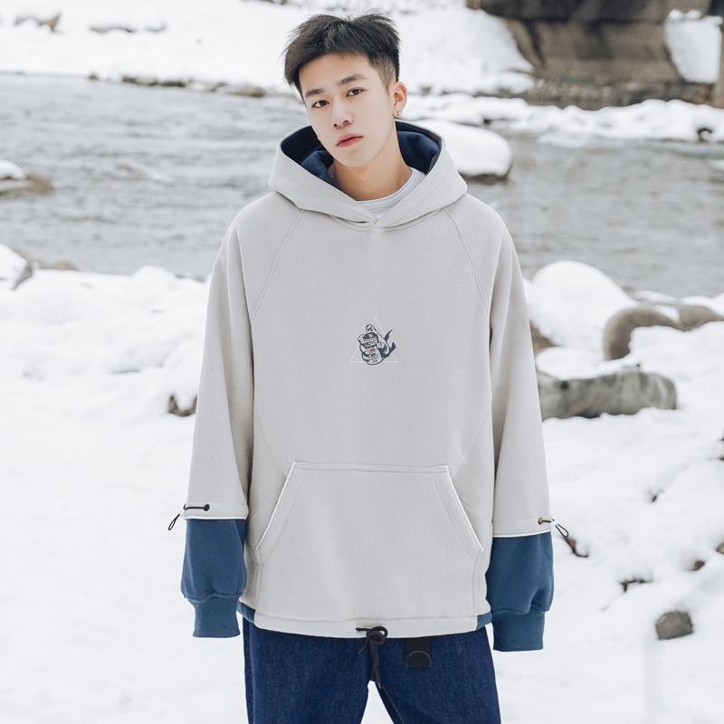 Зимний цветовой контраст шить смешной печать мультфильма утолщенной Плюшевые свитер мужской моды бренд одежды потерять пальто с капюшоном