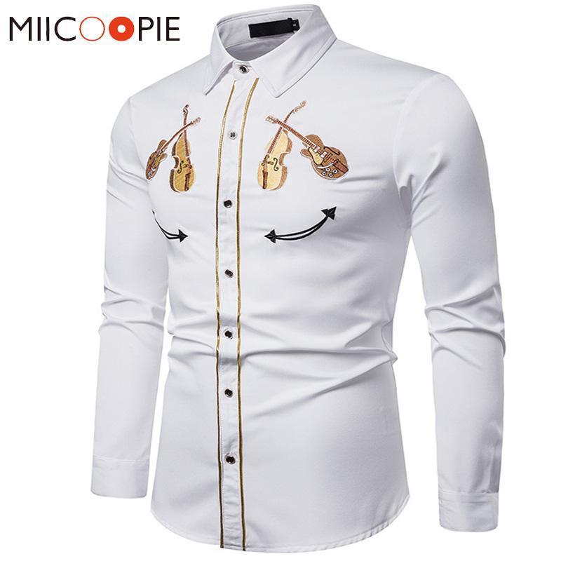 Мужские повседневные рубашки Вышивка Белая рубашка 2021 роскошный западный ковбой скрипка с длинным рукавом Социальное платье Мужская стрит одежды