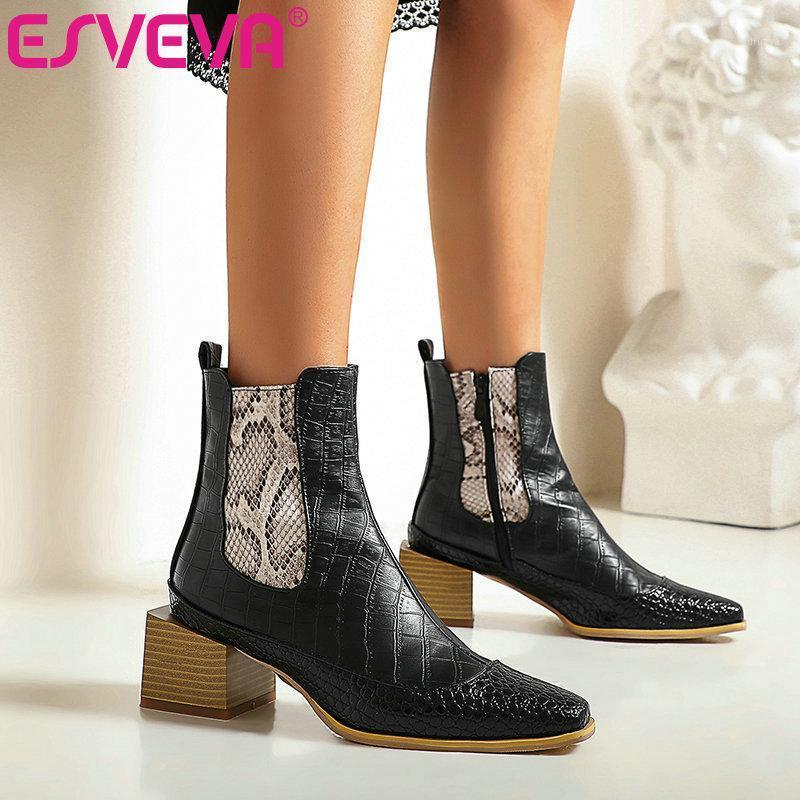 ESVEVA 2021 Pointed Toe Square Med Heel PU Leather Ankle Boots Women Boots Mixed Color Winter Shoes Black Size 34-431