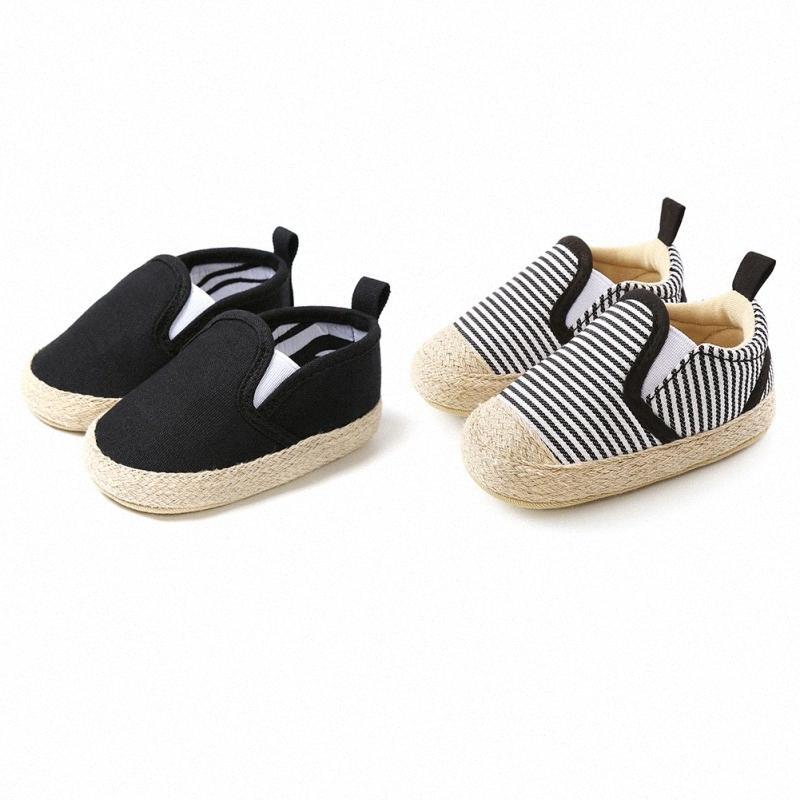 Hot ventes Eté Automne Bébé de filles de garçon en coton rayé Chaussures de sport Chaussures Premier Walkers Semelles souples en toile enfant en bas âge 0-18 mois ZEix #