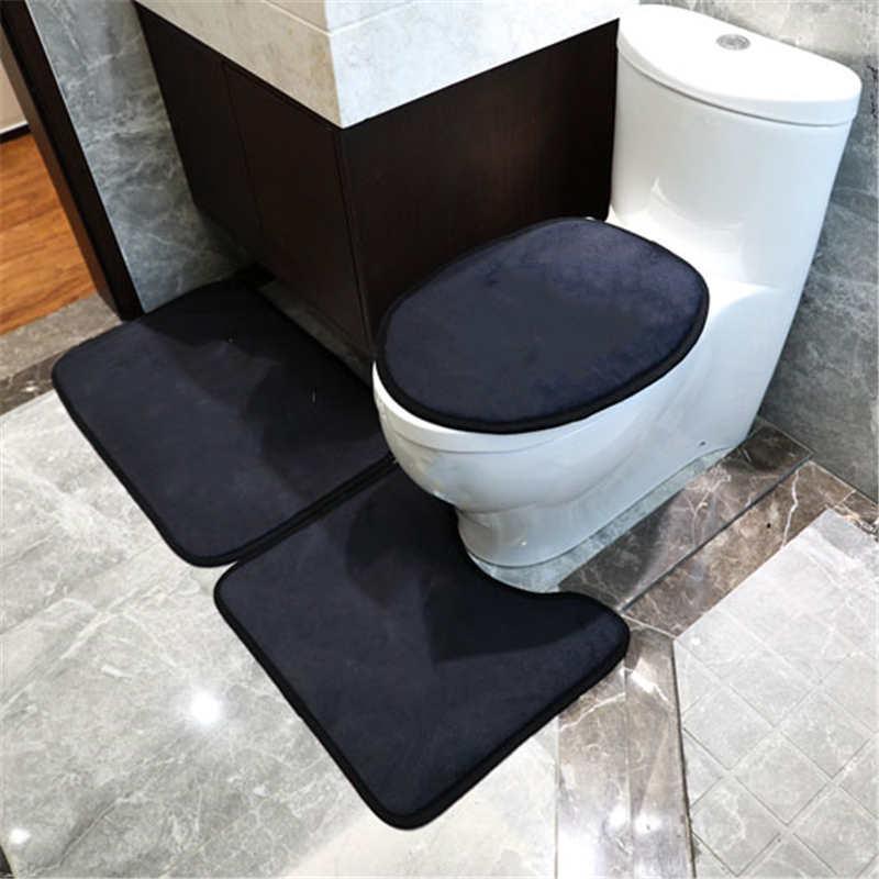 럭셔리 인쇄 변기 좌석 커버 3pcs 세트 욕실이 아닌 미끄럼 변기 매트 홈 실내 Doormat 카펫 러그