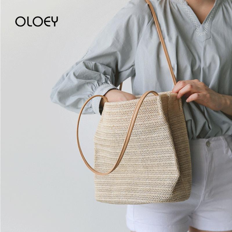 Yaz Kadın Bez Straw Plaj Çantası Lüks Çantalar Kadın Çanta Moda el dokuması Büyük Rattan Seyahat Omuz Çantaları