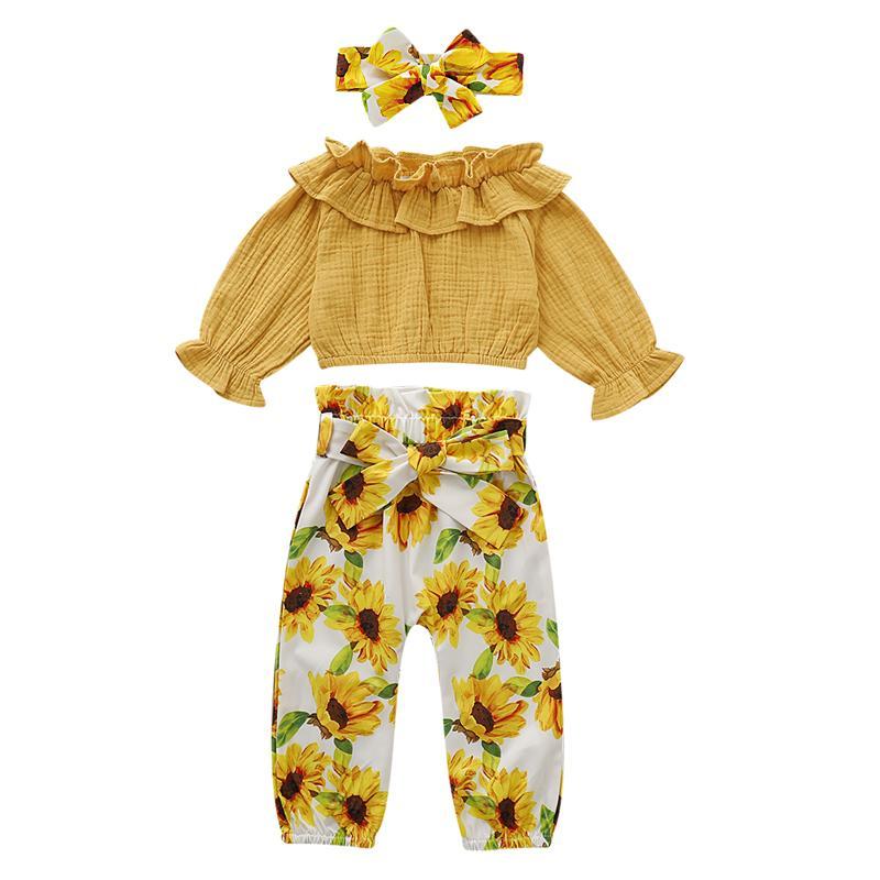 Focusnorm Autunno 1-4 anni del bambino neonate Ruffle cime della maglietta giallo girasole pantaloni fascia 3 pezzi cadono Outfits 201017