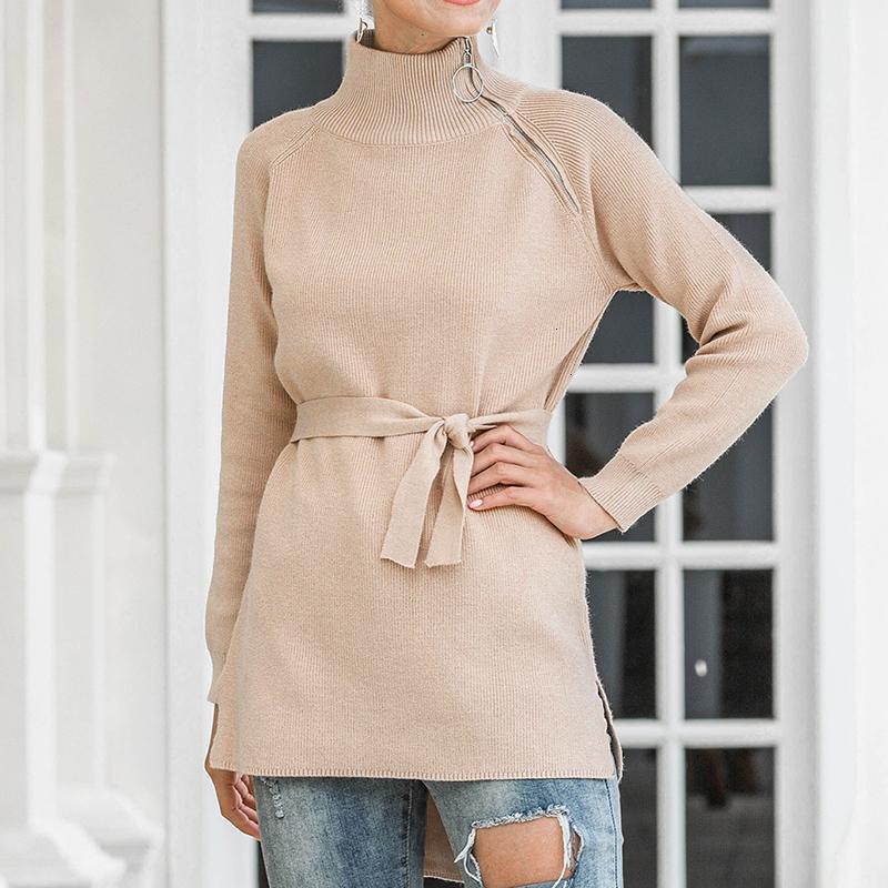 Fanco Women 2020 Fashion Casual Zipperturleneck Fashes Color Sólido Color de manga larga Suéter otoño de la mujer Otoño de invierno suéteres de encaje