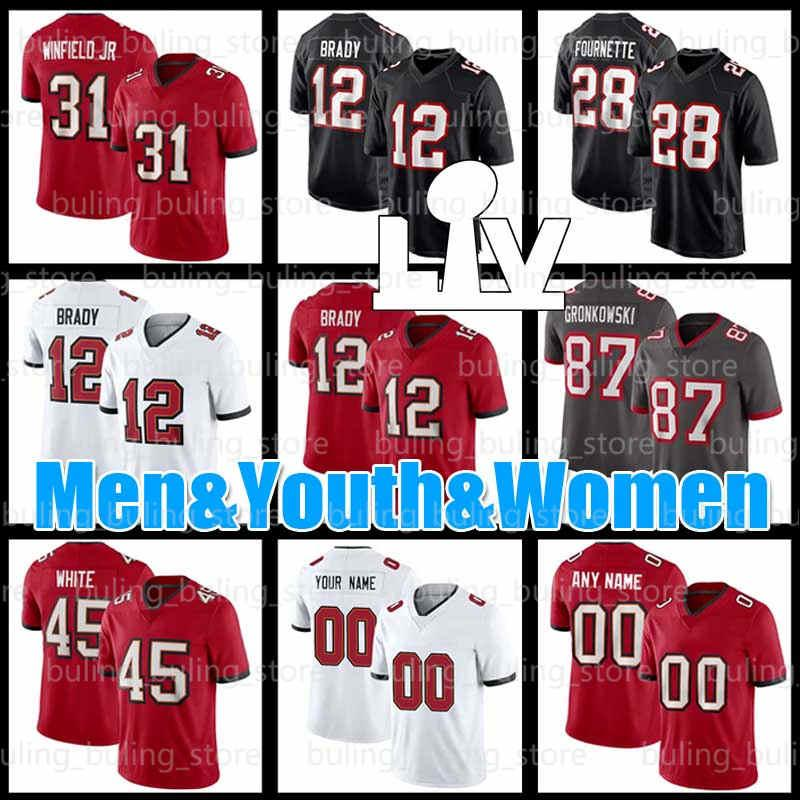 31 Antoine Winfield JR Jersey Tom Brady 78 Tristan Wirfs 28 Leonard Fournette Custom Mens 18 Tyler Johnson 90 Jason Pierre-Paul Football