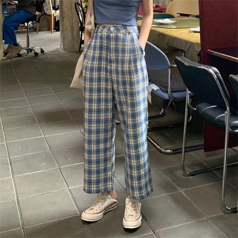 Sommer neue lose gerader Zylindergitter Freizeithose koreanische Version von 100 Sets dünn, hohe Taille und breite Beine Hosen neun y200418