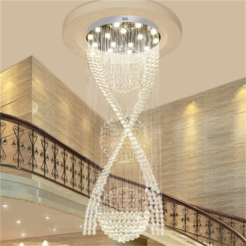 Semplice scala a chiocciola lungo Lampadario villa scale lampadario di cristallo semplice lampadario in cristallo filo appeso moderna