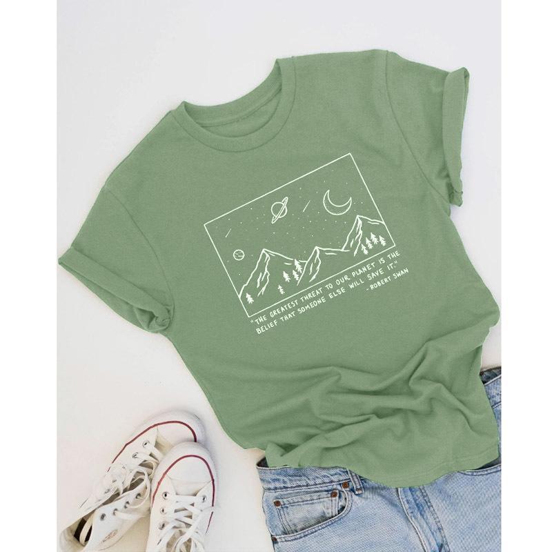 Sauvegarder la planète T-shirt Montagne Graphic Tees Femmes Été Art Art Art Tops Slogan Tumblr T-shirt T-shirt Coton Drop Expédition Y200412