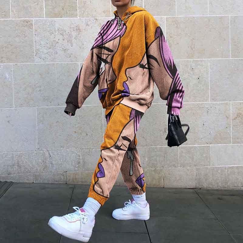 Bayan Eşofmanlar Avrupa ve Amerikan Moda Baskı Iki Parçalı Set Kadın Spor Ve Boş Zaman Kapüşonlu Takım 3 Stilleri Boyut S-2XL