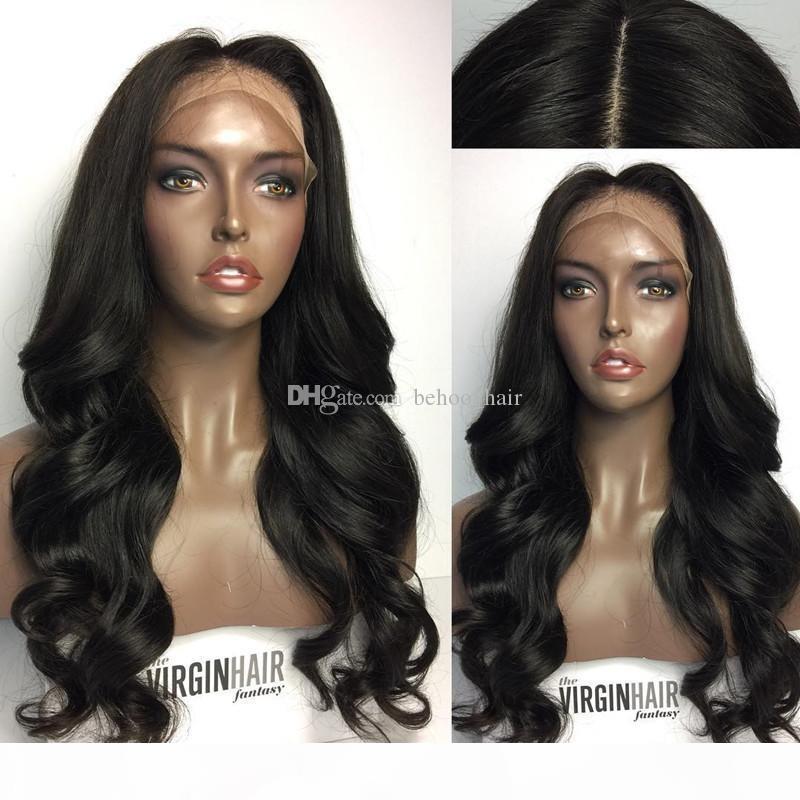 Glueless pleine dentelle perruque longue vague de corps avant de dentelle perruque de dentelle perruque de cheveux humains pour les femmes noires avec des cheveux de bébé
