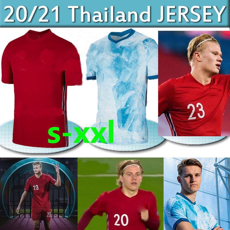 Norway 20 21 Maglie da calcio della Lega europea N0R Haaland Ödegaard Berge Haupge Home A Way National Football Camicia da uomo Uniformi