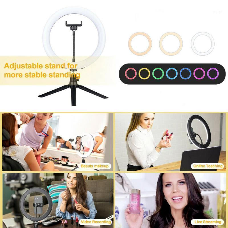 Flash Heads 26cm RGB Beleza Encher Luzes LED Lâmpada de Luz de Luz com Tripé Stand Kit Dimmable RIM de Para Maquiagem Telefone 16 Cor Ajustável1