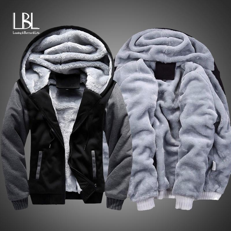 Kış Kalın Kapüşonlular Erkekler Fermuar Kapşonlu Coat Marka Erkek Eşofman Kazak Patchwork Ceketler ABD / Euro Artı boyutu Fleece Hoody Y201006 Isınma