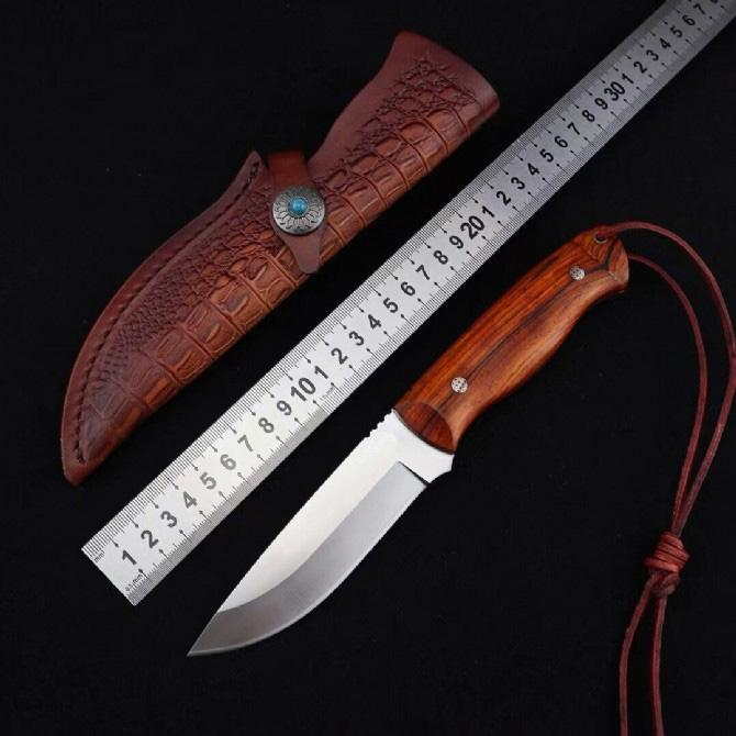 1Pcs Outdoor Survival Straight Hunting Knife VG10 Satin Drop Point Blade Ebony Handle Fixed Blade Knives With Leather Sheath