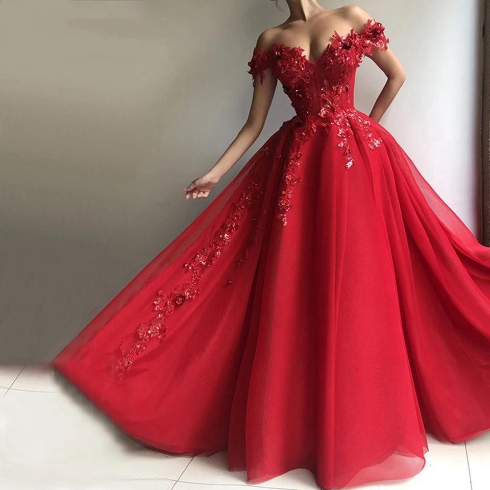 Kırmızı Kapalı Omuz Gelinlik Modelleri 2021 Kadınlar Örgün Parti Gece Vestidos A-Line Aplikler Sequins Tül ucuz Zarif Abiye giyim