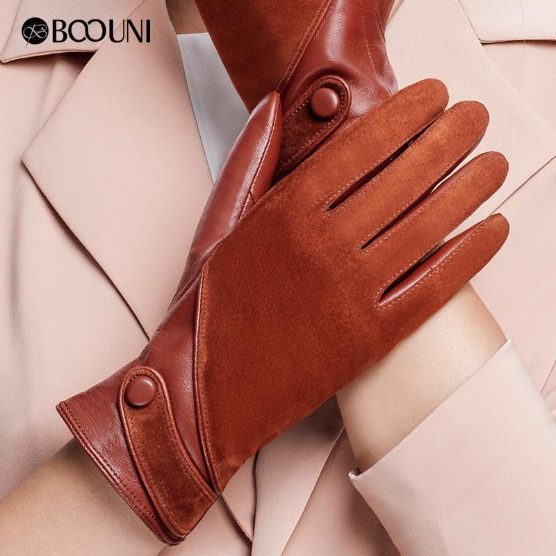 BOOUNI натуральная кожа перчатки Женская мода замши овчины перчатки Тепловое зима Velvet Подкладка Движущие Перчатки NW563 201104