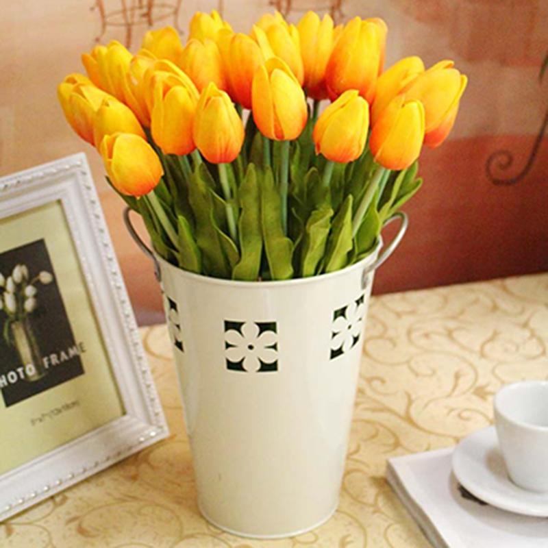 Декоративные цветы венки 1 букет из 10 головок поддельных тюльпанов искусственный шелковый цветок реальный сенсорный дом офис свадебный декор