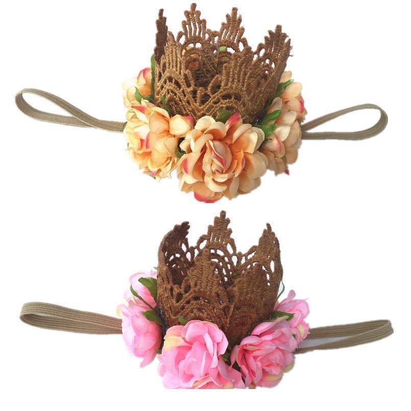 Оптом девушка кружевная крона оголовье голоса золотая корона тиара волос группа принцессы новорожденный шелковый цветок корона волос доступа к волосам pho jllfoo