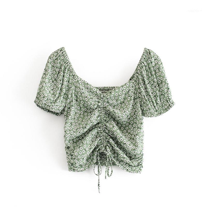 2020 летних женских новых ретро элегантный дикий V-образным вырезом с коротким рукавом с коротким рукавом с коротким рукавом Цветочная шнурка выставленного пупка короткой рубашки1