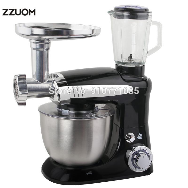 ZZUOM électrique batteur sur socle avec Blender et Hachoir Cooker Ménage Petit multifonction automatique pétrir la pâte machine