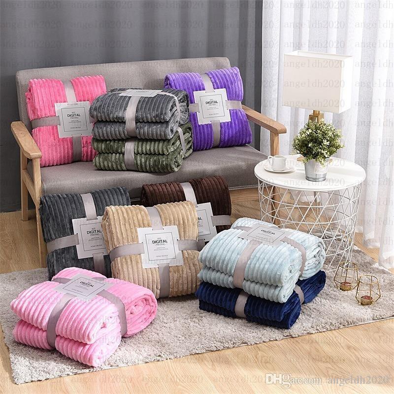 120cm * 200cm Massiv gestreifte Wurfdecke Flanell-Vlies-super weiche Decken-Winter-warme Fluffy Bettwäsche Tagesdecke für Sofa Schlafzimmer-Dekor