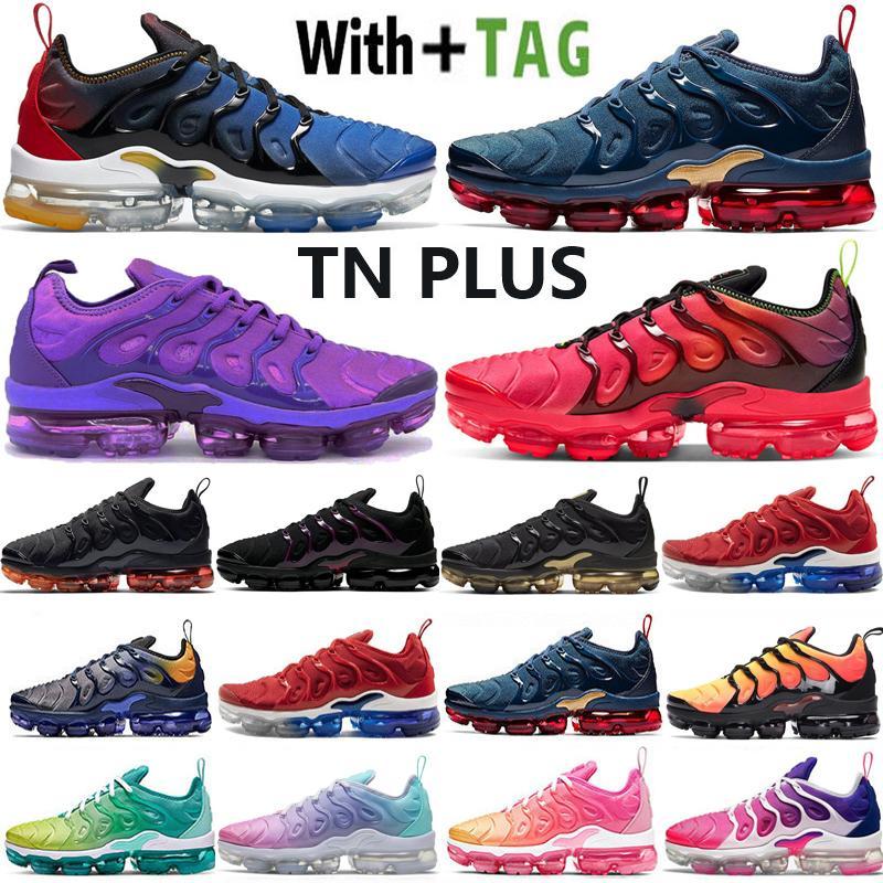 2021 En Kaliteli Yastık OG TN Artı Erkek Kadın Koşu Ayakkabıları Midnight Donanma Degradeler Mavi ABD Coquettish Mor Pastel Sneakers Eğitmenler Boyutu 36-45