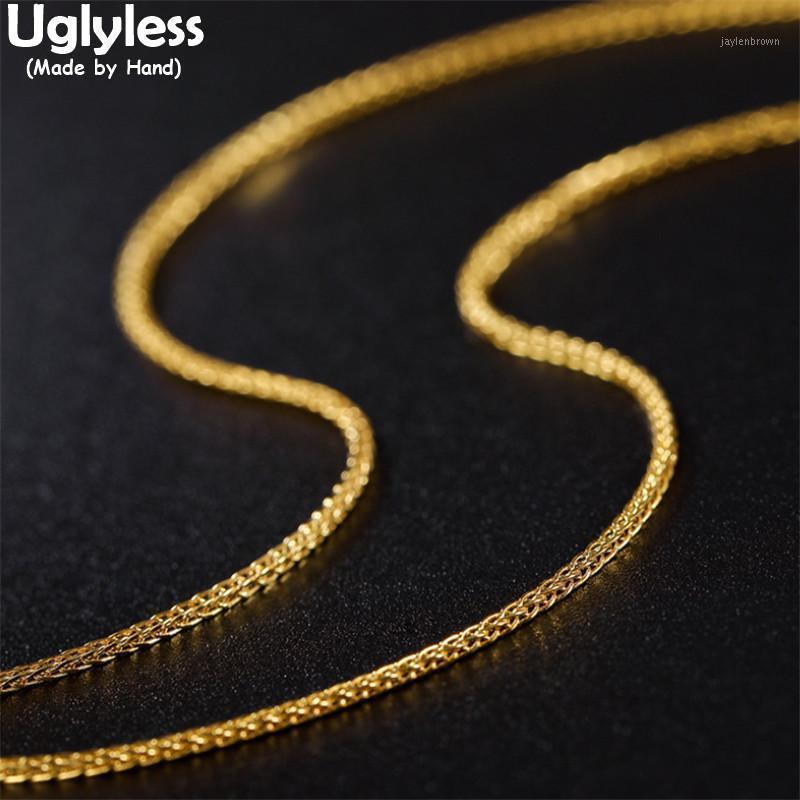 Uglyless 1mm Catene di oro sottili Collane per le donne Real 925 Collane in argento NO Pendenti Chopin Catene Accessorio gioielli di moda1