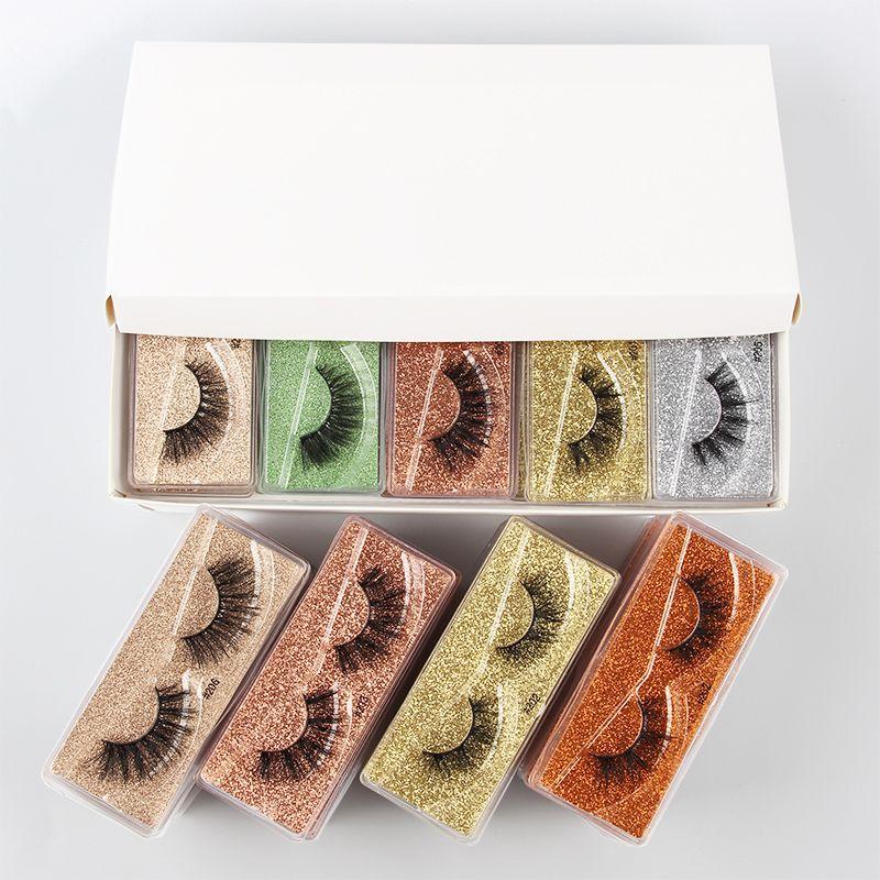Venta al por mayor las pestañas falsas pestañas de visón pestañas falsas naturales de larga serie faux cils a granel al por mayor del maquillaje de las pestañas del envío libre de DHL
