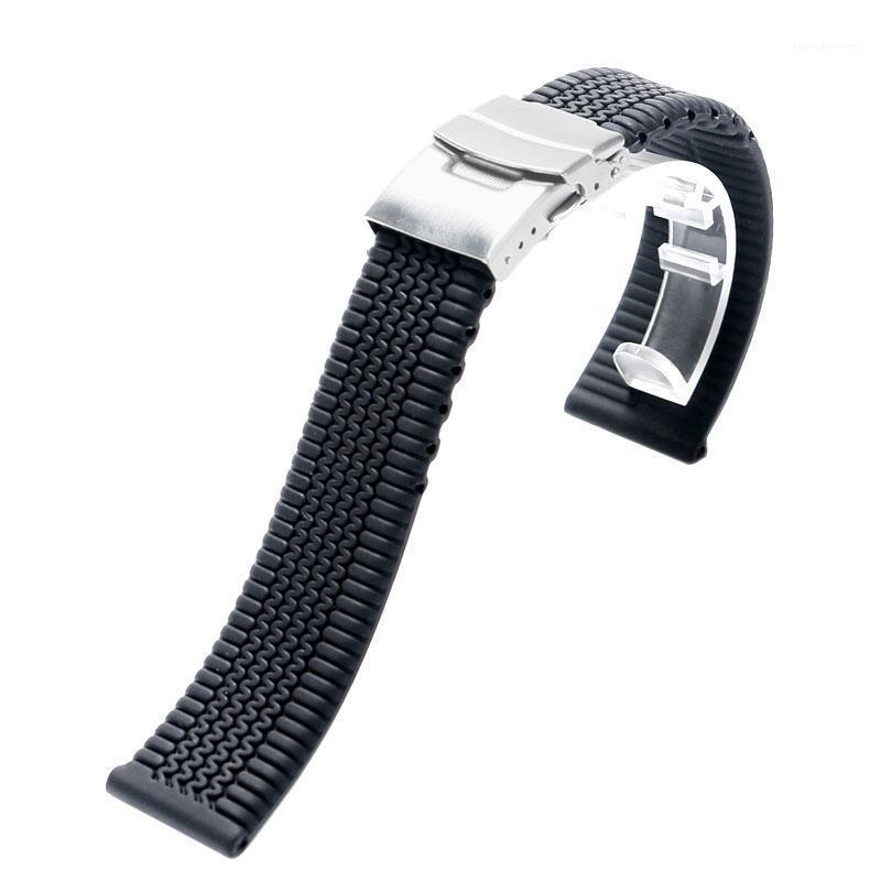Watch-Bands Schwarz Streifen 20mm / 22mm / 24mm Silikon-Riemenband mit 2 Federstangen für Smart Sportuhren Falten über Verschluss Safety1