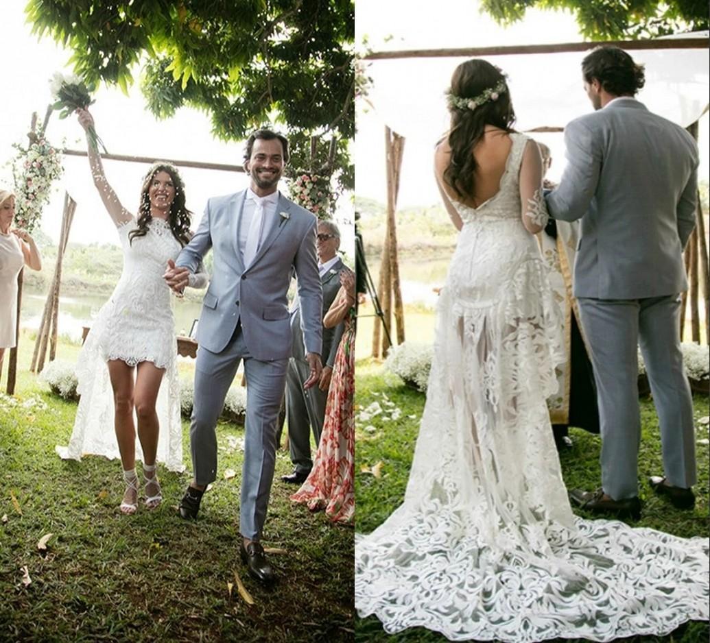 2021 страна короткий спереди разделить линию свадебные платья с иллюзией длинные рукава кружева спинки Boho свадебные платья высокие низкие Vestidos AL8575