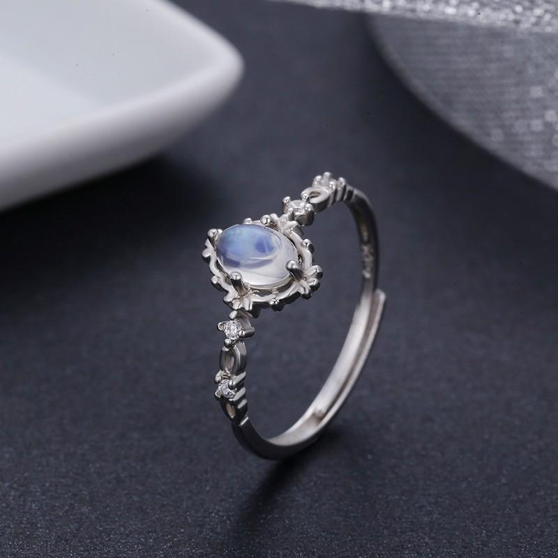 Estilo 925 jóias de prata redondo naturais Anéis Moonstone para mulheres acoplamento do casamento Jóias Dedo Anillos Bague Aneis 201112